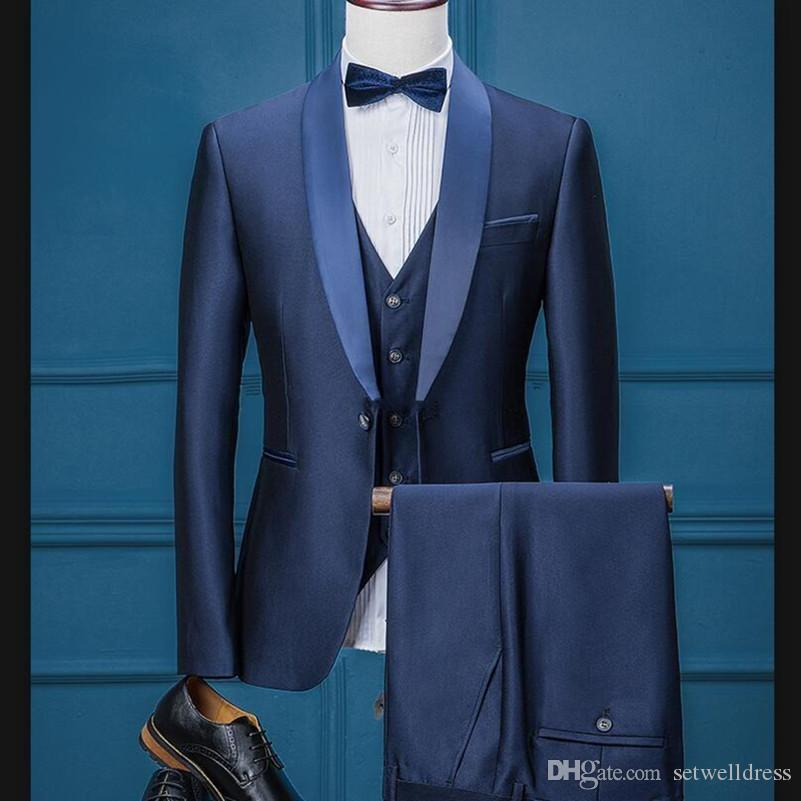 Custom Made Navy Blue Groom Tuxedos High Quality Formal Suits Mens Wedding Prom Party Suits Jacket+Pants+Vest