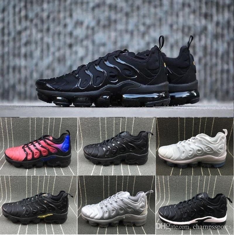 698381d9846 With Box Vapor TN Plus Running Shoes Classic Outdoor Run Shoes Vapor Tn  Black White Sport Shock Sneakers Men Requin Olive Silver Kids Running Shoes  Black ...