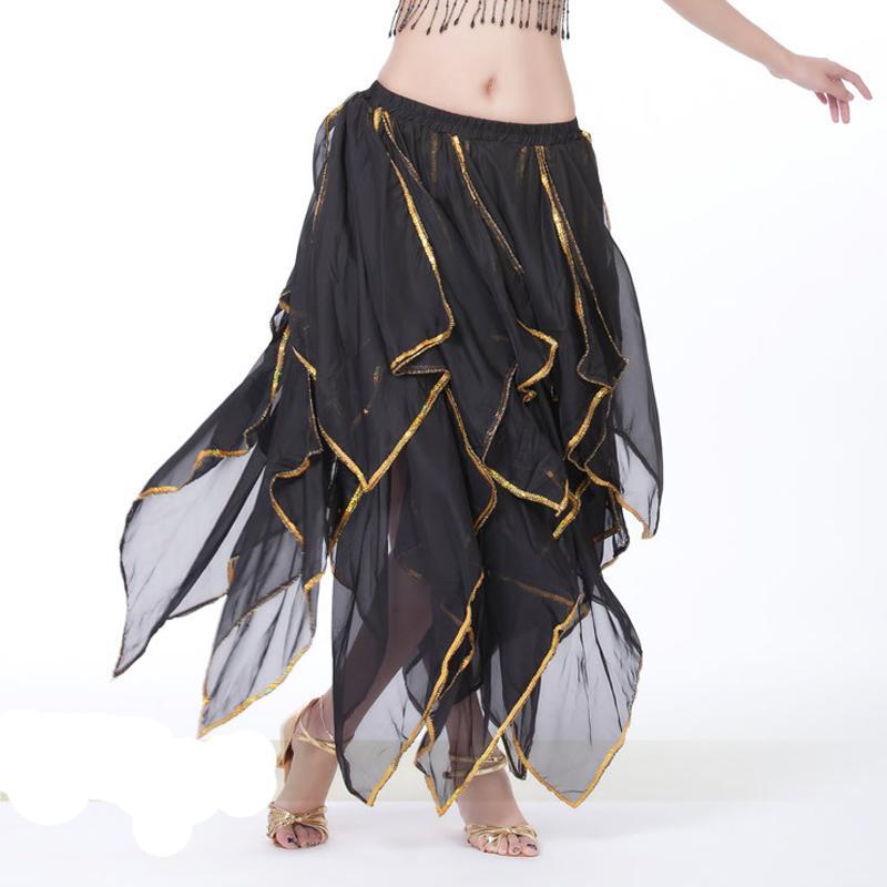 e0fe72083 Falda de danza del vientre Falda de traje de danza del vientre Danza  oriental Faldas de vestuario de danza del vientre con borde dorado 10  colores