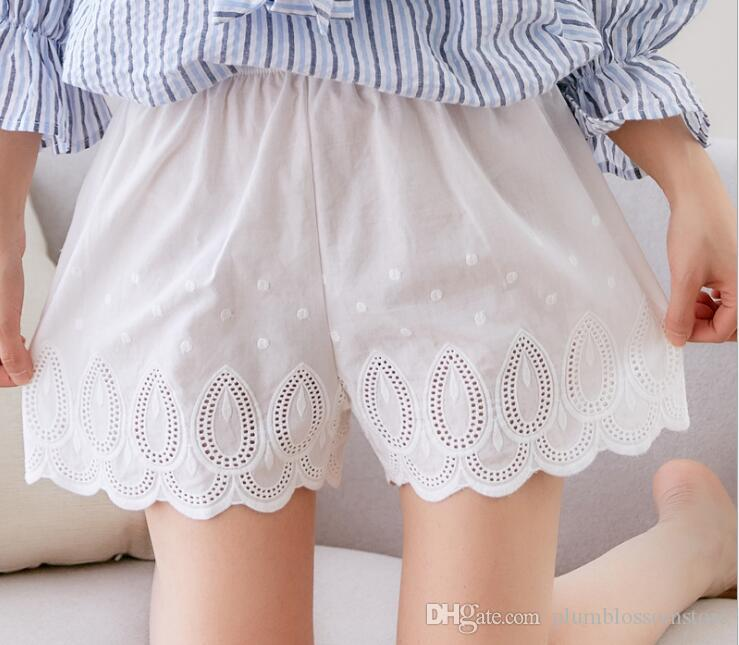 aa938643421f1b 2019 Summer Cotton Safety Pants Girls Women Anti Emptied Short Safety  Underwear Leggings Loose Lace Hollow Bottom Shorts For Girls Safety Pants  From ...