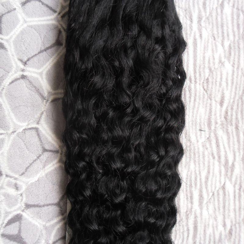 Kinky Curly Remy Cheveux Boucle Micro Anneau Naturel Extension de Cheveux Humains 100G 1G / Strands Micro Perle Cheveux