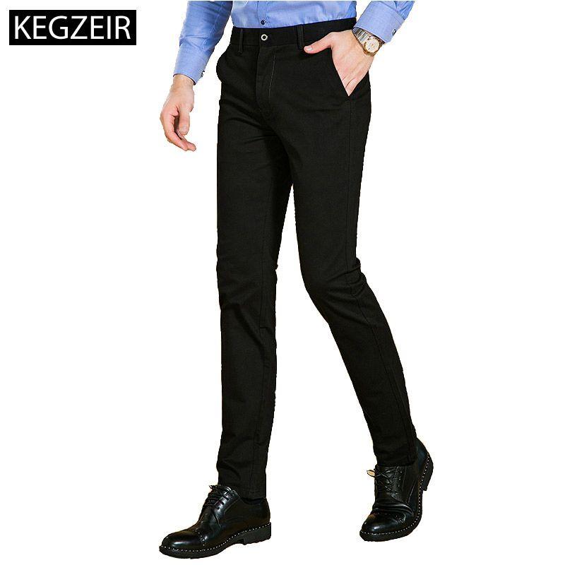 Compre KEGZEIR 2018 Nueva Marca Ropa Para Hombre Pantalones De Moda Slim  Fit Straight Casual Hombres Pantalones Negro Stretch Winter Pants Hombres A   33.02 ... b98516a89e1