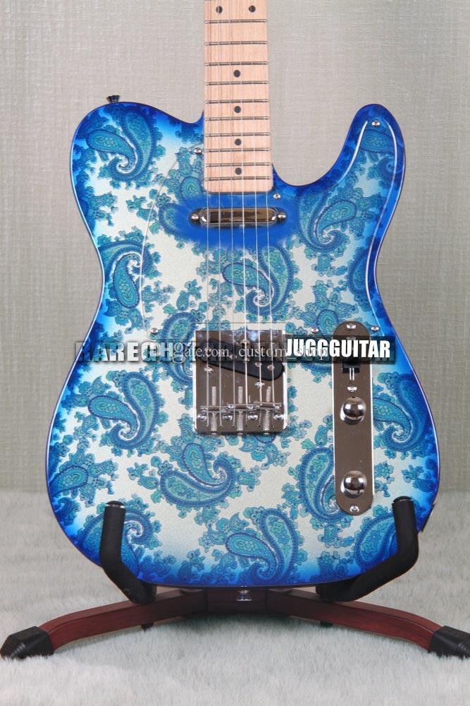 custom shop crook brad paisley signature tele blue sparkle paisley electric guitar maple neck. Black Bedroom Furniture Sets. Home Design Ideas
