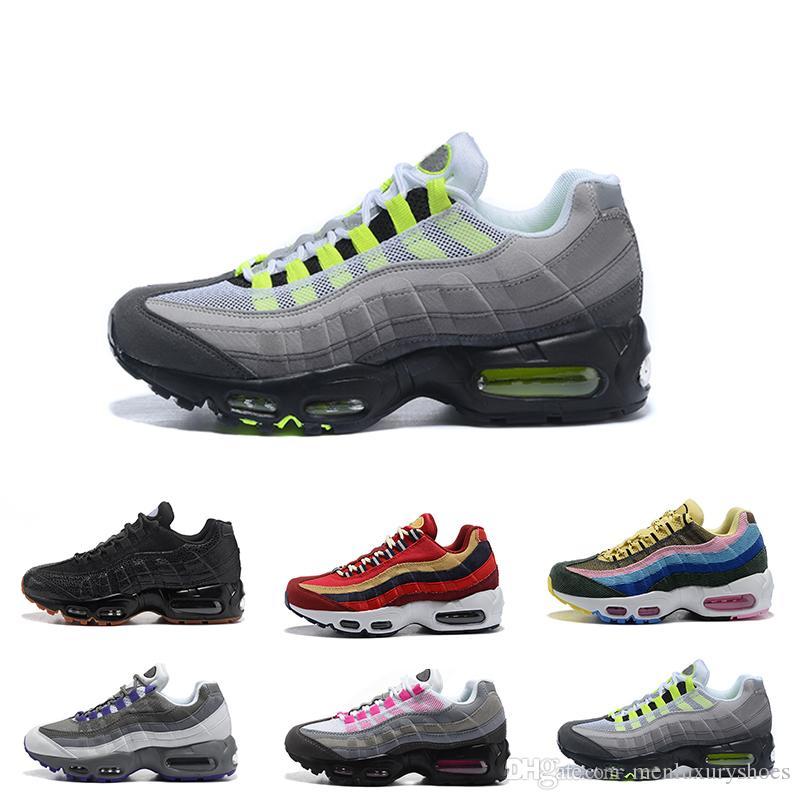 huge discount d8533 d72f8 Großhandel Hot Womens Sneakers Schuhe 95 Laufschuhe Schwarz Rot Weiß Sport  Trainer Frauen Oberfläche Atmungsaktiv Frau Sport Trainer Tennis  Freizeitschuhe ...