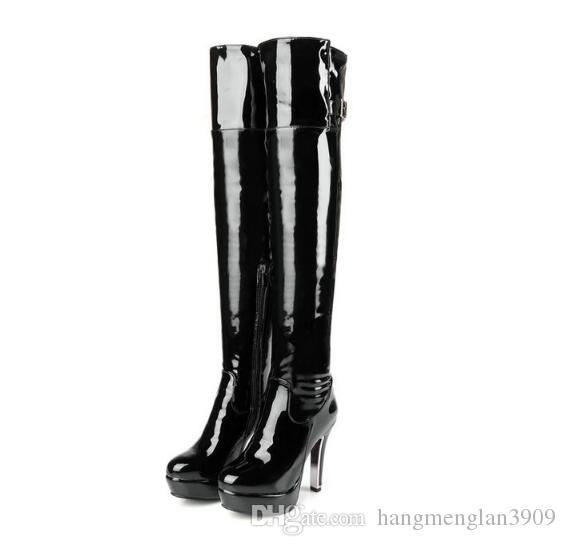 Patent Leather Sexy Thigh High Heel Boots Winter Women Over the Knee Boots Plus Size Shoes Platform Round head side zipper Red Black Color