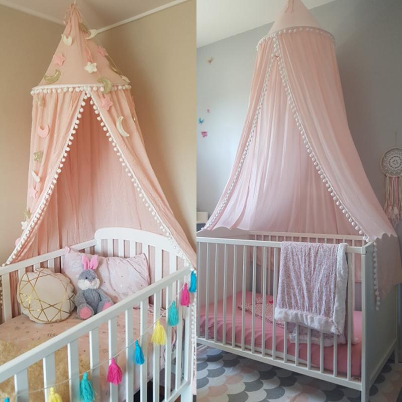 Mother & Kids Just Baby Princess Nets Hanging Round Lace Canopy Baby Bed Netting Comfy Infant Crib Netting For Crib Full Queen Bed Baby Sleep S3