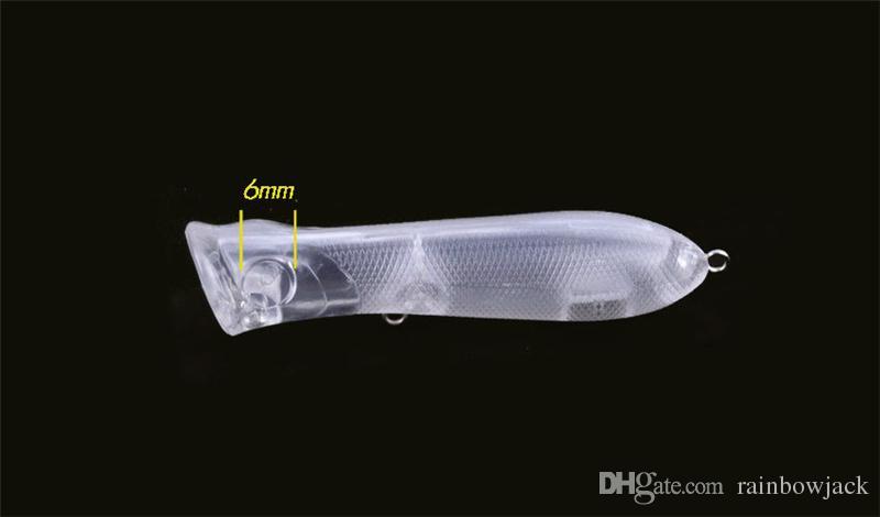 ABS Plástico Transparente Em Branco Transparente Isca De Pesca Sem Pintura Embrião isca 8.2 cm 10g DIY cor Topwater Mergulho Popper Swimbaits Acessórios