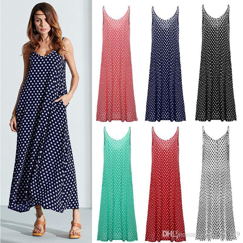d019ac07b9ef Women BOHO Long Casual Summer Beach Maxi Dress Sundress Sleeveless Polka Dot  V-neck Casual Dresses Party Dress Women Dresses Online with  16.5 Piece on  ...