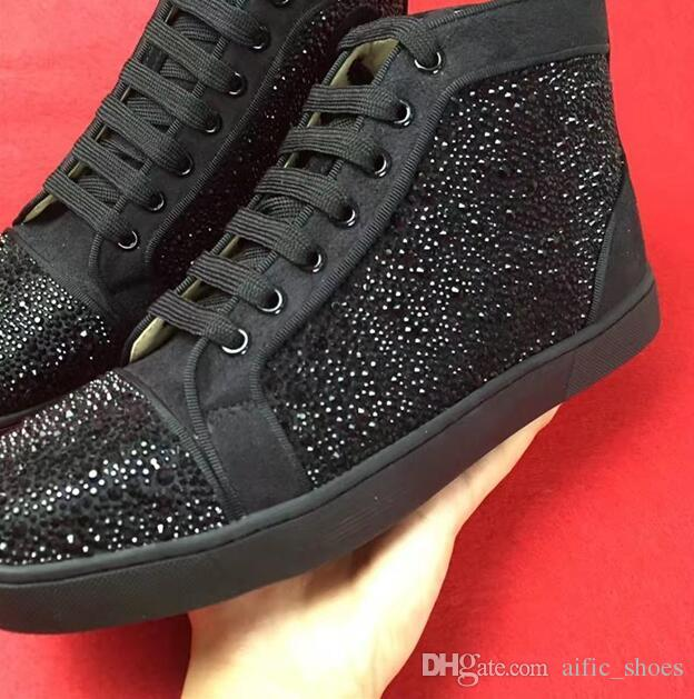 Princetown Shiny Studded Spikes Red Bottom shoes Designer Sneakers Spikes Orlato red bottom party trainers mens Genuine leather Arena shoes