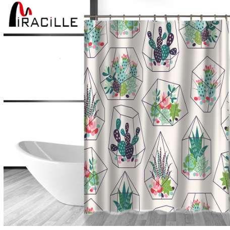 Acheter Miracille Vert Plantes En Pot Succulentes Cactus Imprimer Rideau De Douche Polyester Impermeable Salle Bains Avec Tissu 12 Crochets