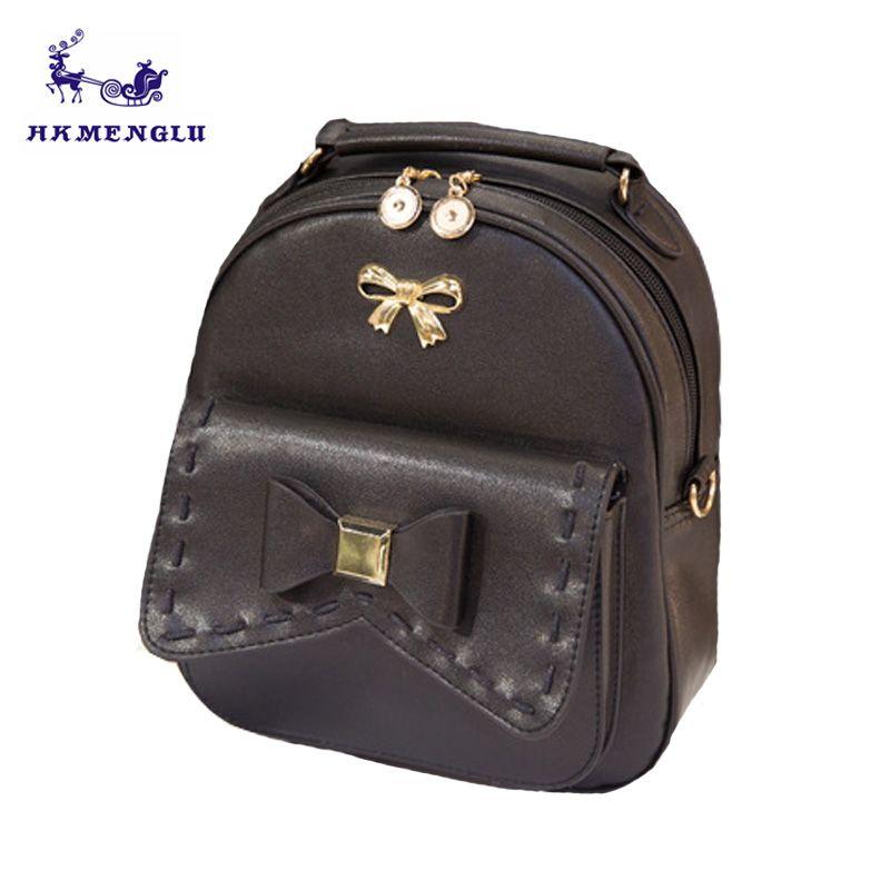 6c19f2acae69 Cute Bow Teenage Backpacks For Girls Mini Feminine Backpack School Bag  Travel Leather Rucksack Ladies Backpack College Style Hydration Backpack  Womens ...