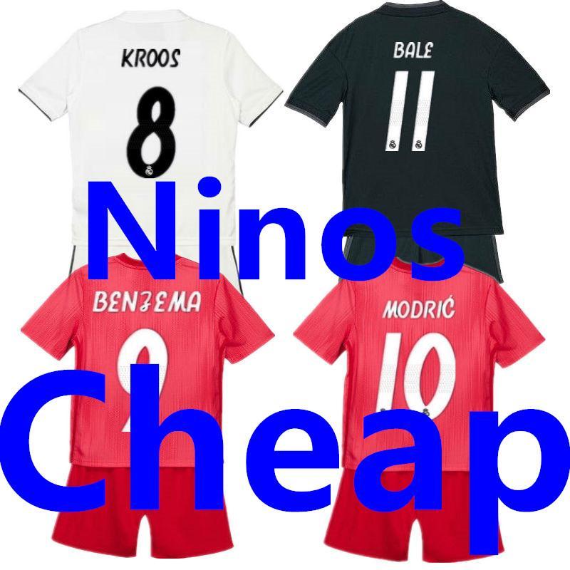 85af8cf68 2018 Soccer Jersey Sets Real Madrid Kids 2019 Camisetas Ninos Futbol  Children Home White Away Black Third 18 19 Football Uniform Kit Boys Shirt  From ...