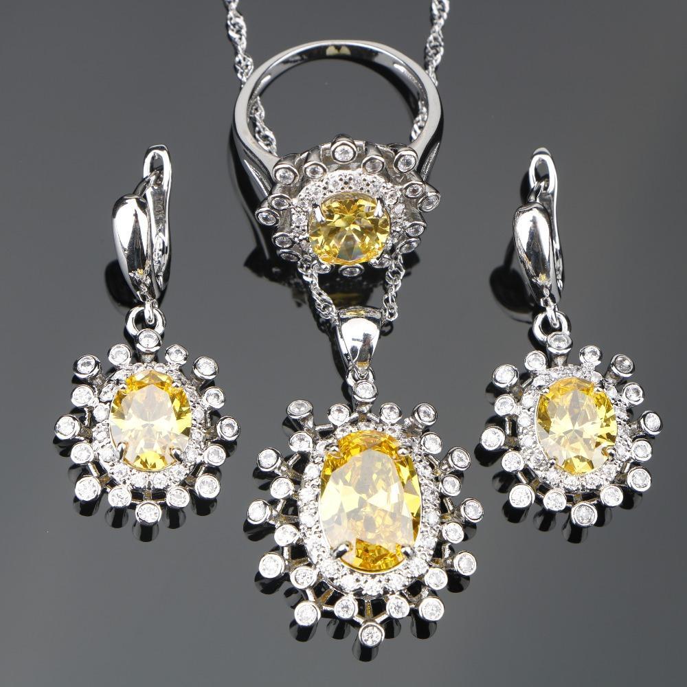e03aa657 ecklace set Amarillo Circón Plata 925 Conjuntos de bisutería Mujer Boda  Piedras Blancas Anillos Pendientes Colgante Conjunto de Joyas Gif ...