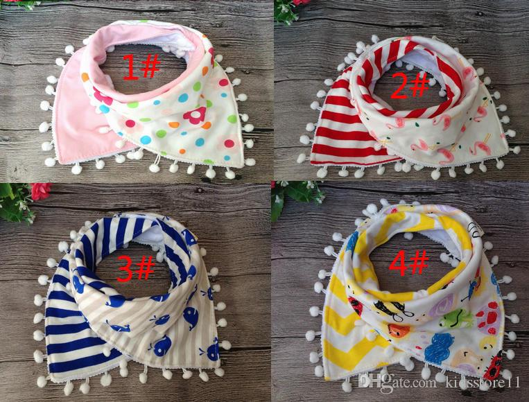 Baby Girl Princess Tassel Bibs Infant Toddlers Cartoon Flamingo Cow Milk Printed Bibs Baby 100% Cotton Saliva Towel Triangle