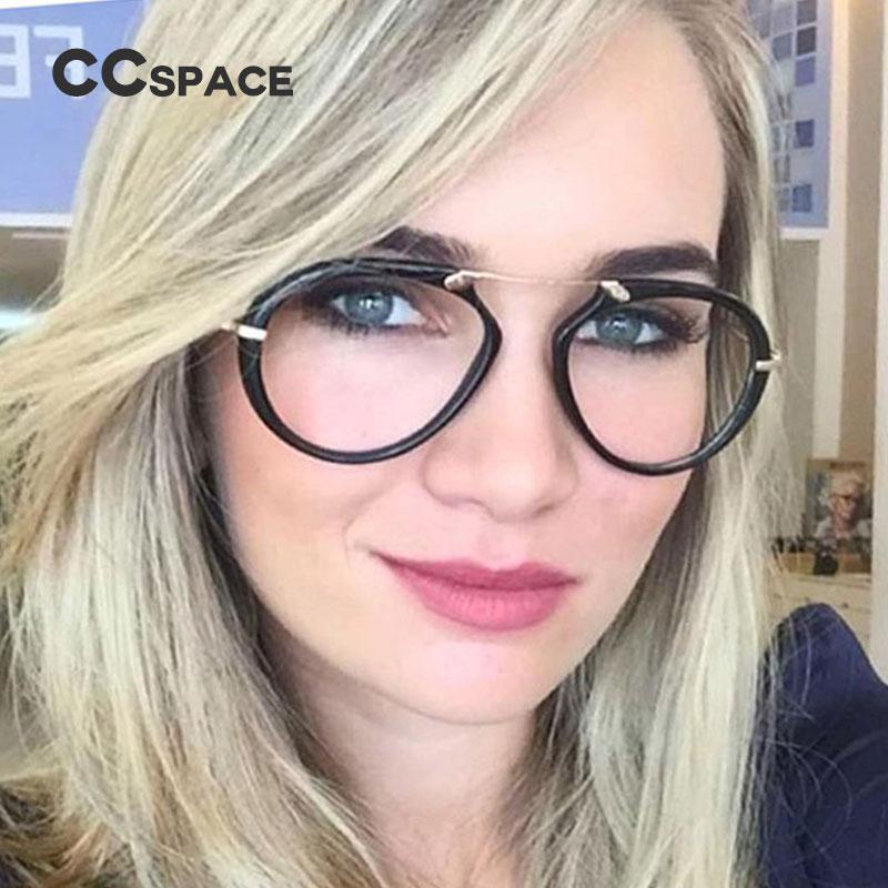 528293d759f CCSPACE Lady Aviator Glasses Frames For Women Brand Designer Optical  EyeGlasses Fashion Metal Legs Eyewear 45078 Rimless Eyeglasses Frames  Stylish Eyeglass ...