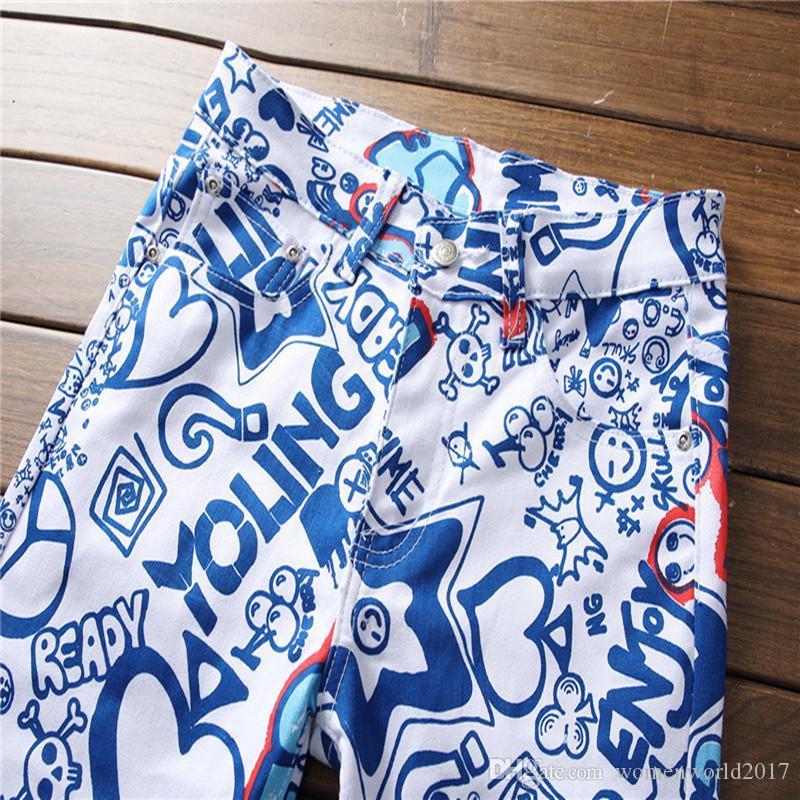Les derniers hommes Jeans 3D élastiques Imprimer Jeans Pantalons Skinny Hommes Slim Jeans Pantalon stretch blanc peint
