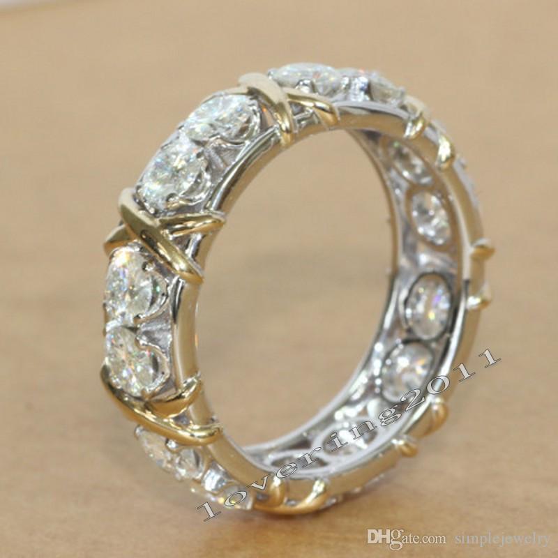 Choucong Eternity Takı Taş Pırlanta 10KT BeyazSarı Altın Dolgulu Kadınlar Nişan Düğün Band Yüzük Sz 5-11
