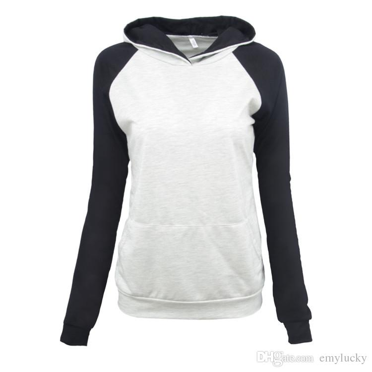 a5754276701 New Hot Sell Women Apparel Long Sweatshirts Pullover Hoodies Long Sleeves  Contrast Color Plus Size Women Clothing Tops Tee
