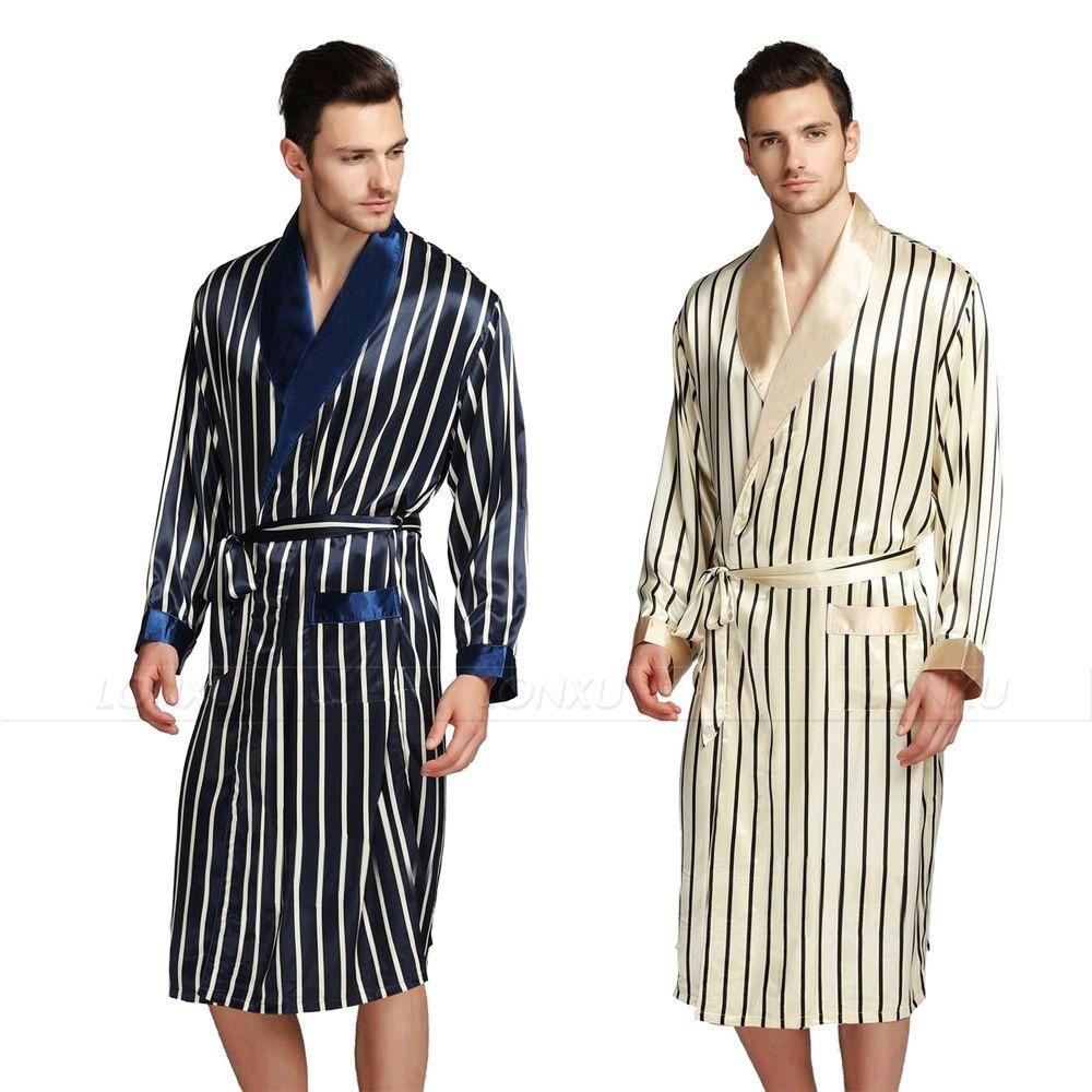 Mens silk satin pajamas pajama pyjamas sleepwear robe robes nightgown robes  plus beige blue striped from 96b4eb9b9