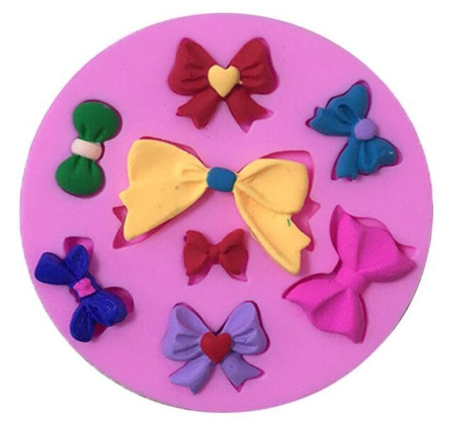8 Cavity Assorted Bows Silicone Mould Fondant Sugar Mini Bow Craft Molds DIY Cake Decorating