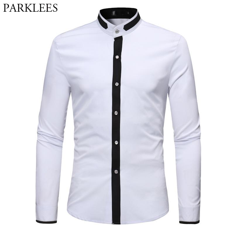 13f39cef7 Men's Hipster Banded Collar Dress Shirts 2018 Autumn New Slim Fit Long  Sleeve Chemise Homme Casual Constrast Color Shirt Male