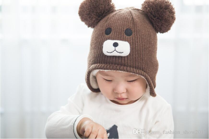 New Style Knitted Kids Winter Baby Hats Cartoon Bear Thick Warm Children Hats For Girls Boys Cap with Double Ball