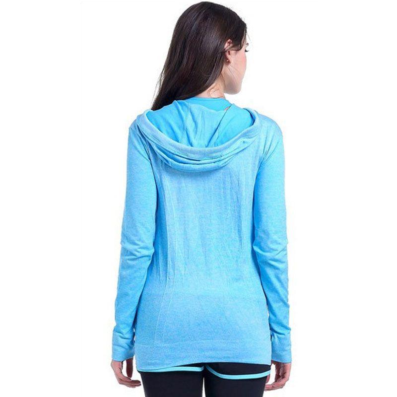 Йога одежда дамы размер S-L четыре цвета с капюшоном быстросохнущие куртки тонкий одежда с длинными рукавами молния работает спортивная одежда