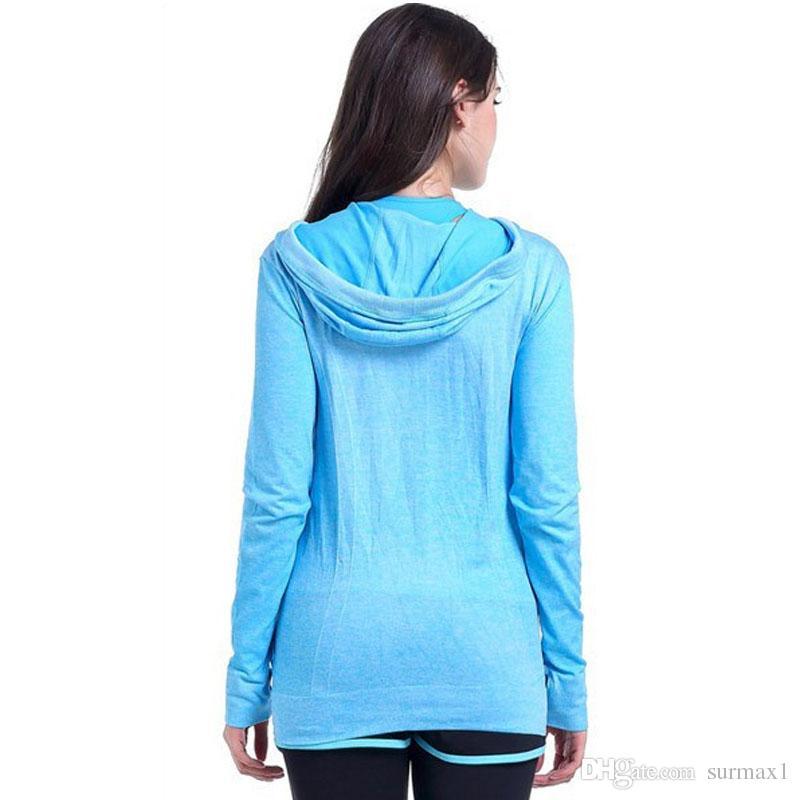 Yoga giyim bayan boyutu S-L dört renkli kapşonlu çabuk kuruyan ceketler İnce giyim uzun kollu fermuar koşu sporu
