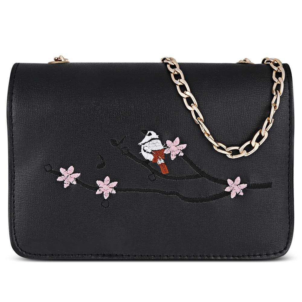 184817f104de 2018 Women Handbag Bird Tree Branch Embroidery Chain Women Purse Shoulder  Bag Crossbody Messenger Bag Italian Leather Handbags Pink Handbags From  Amoyshoes