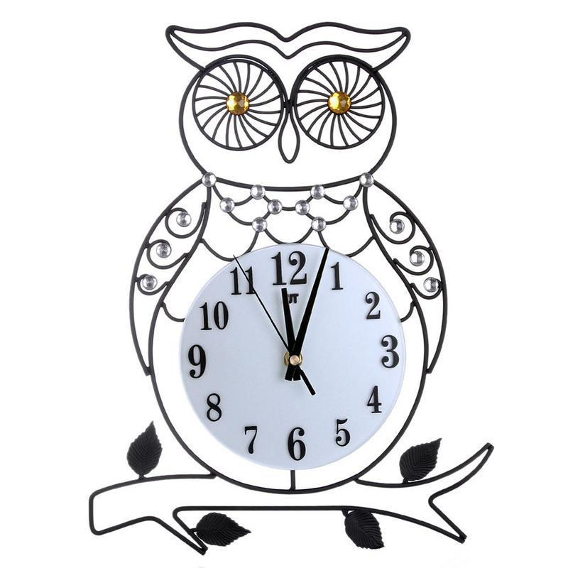 Fashion 3d Metal Wall Clock European Wrought Iron Diamonds Owl Non