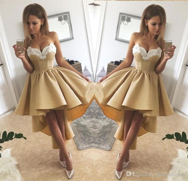 1cc06054521 Gold Cocktail Dresses Short Front Long Back Hi Lo Homecoming Party Dress A  Line Sweetheart Strapless Formal Special Occasion Evening Gowns Cheap  Cocktail ...