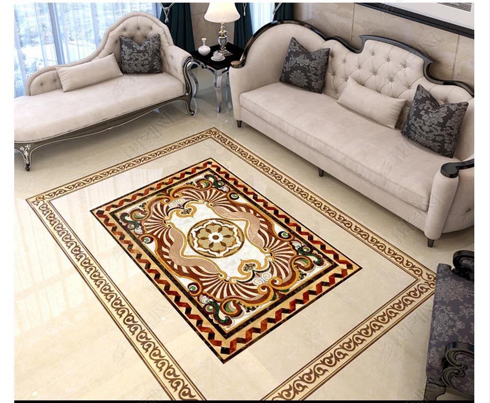 3D PVC Flooring Waterproof Self-adhesive 3D wallpaper customized floor painting wall paper Wall Sticker European parquet floor tiles