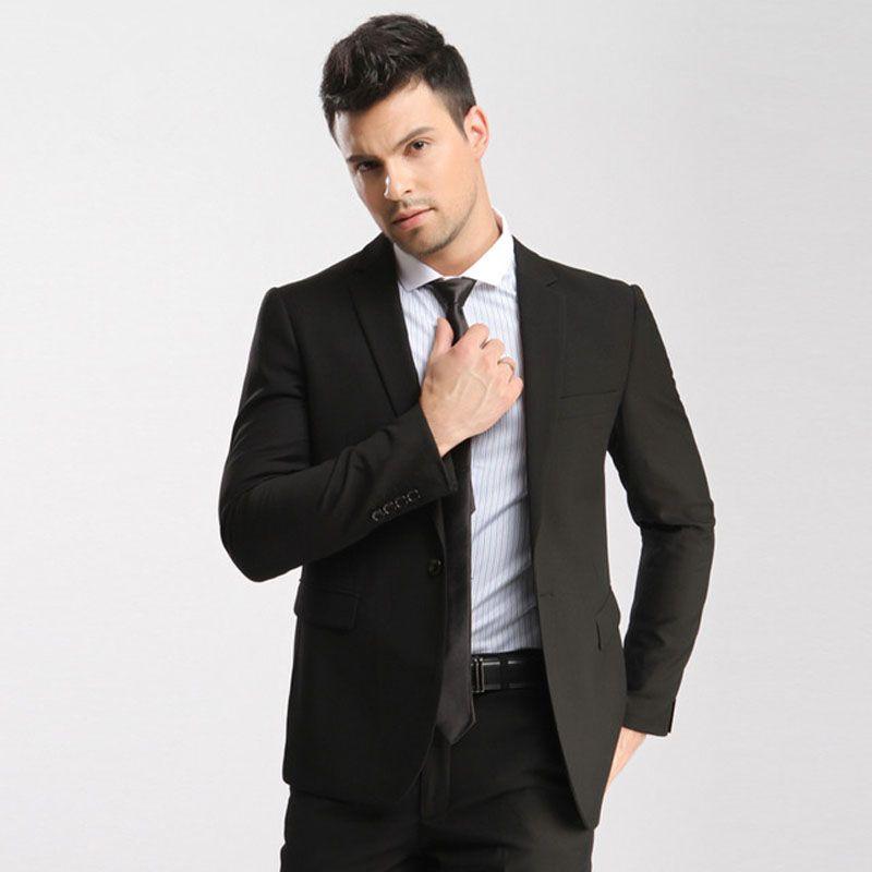 50cb2fc27 Latest Designs Black Men Suit Wedding Notch Lapel Formal Business Suits  Groom Tuxedos Groomsmen Wear Best Man Blazers Jacket Pants Black Tuxedo For  Prom ...