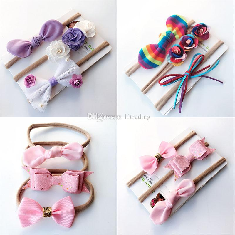 172463560566 INS Baby Girls Rainbow Headband Set Kids Flower Hair Bows Children Hair Band  Rabbit Ears Hair Accessories Set C4893 Wedding Flower Hair Accessories ...