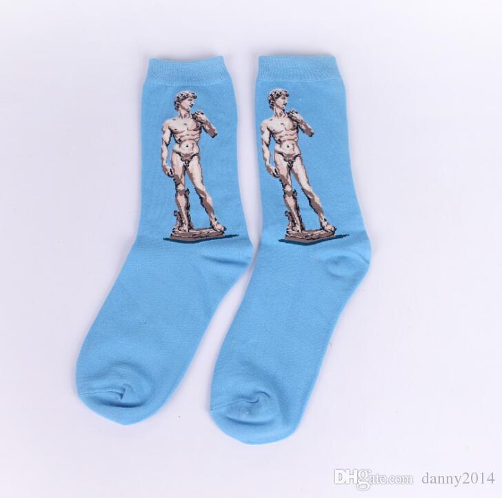 Sanat Tarzı kaykay Çorap Kadın erkek Pamuk Vintage Özgürlük heykeli Mona Lisa Yıldızlı Gökyüzü Öpücük Socking Severler Orta tüp çorap