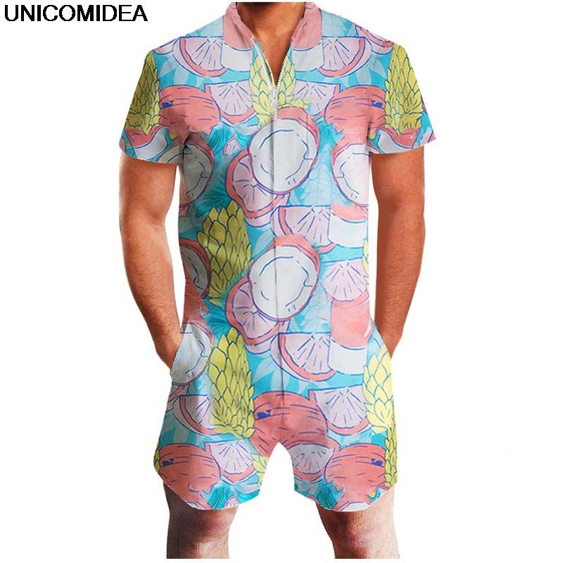f726cc3ae21a 2019 Men Rompers 3D Print Fruit Short Sleeve Jumpsuit Romper Playsuit Beach  Overalls One Piece Slim Fit Clothing Men S Sets Dropship From Humphray