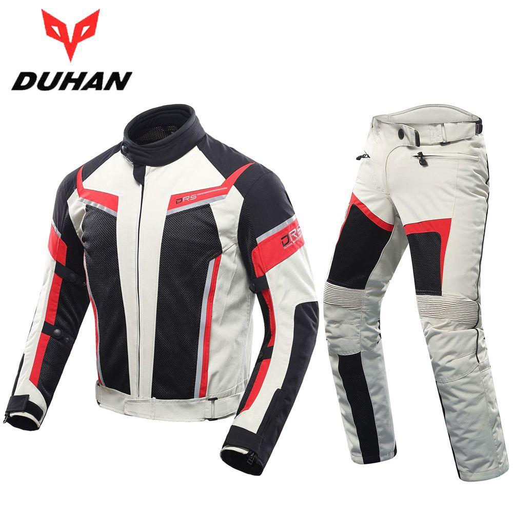 0677995ad5c Compre Chaqueta De Moto Para Hombre DUHAN + Pantalones De Moto Chaqueta De  Carreras Transpirable Gris Pantalones De Montar De Moto Transpirables  Conjunto De ...