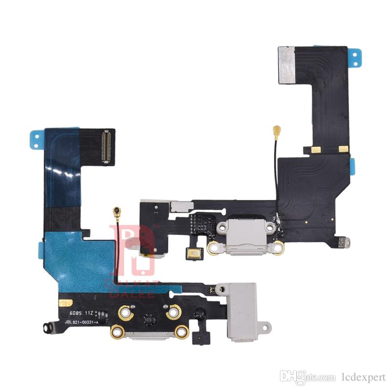 Charging Port Flex Cable For iPhone SE Charger USB Dock Connector with Headphone Audio Jack Mic Antenna Ribbon Black White for iphone 5SE