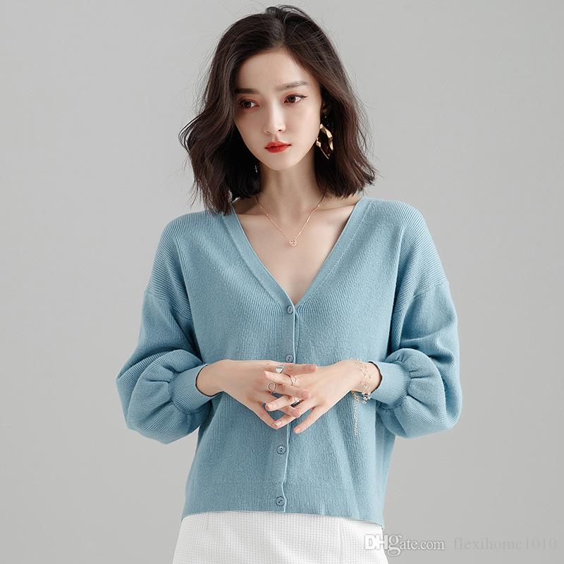 f5065c90a0 2019 Women S Fashion Big V Neck Pullover Loose Sexy Batwing Sleeve Wool Cashmere  Sweater V Neck Knit Winter Tops From Flexihome1010