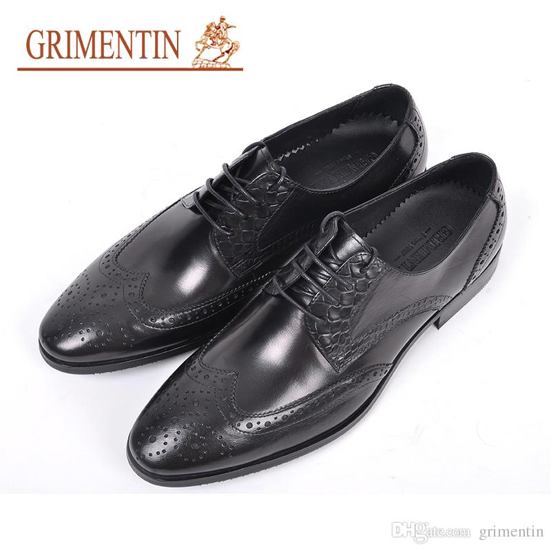 893c6ba60318 GRIMENTIN Hot Sale Formal Mens Dress Shoes Fashion Genuine Leather Men  Oxford Shoes Pointed Toes Wedding Office Business Male Shoes RC10 6H Cheap  Shoes For ...