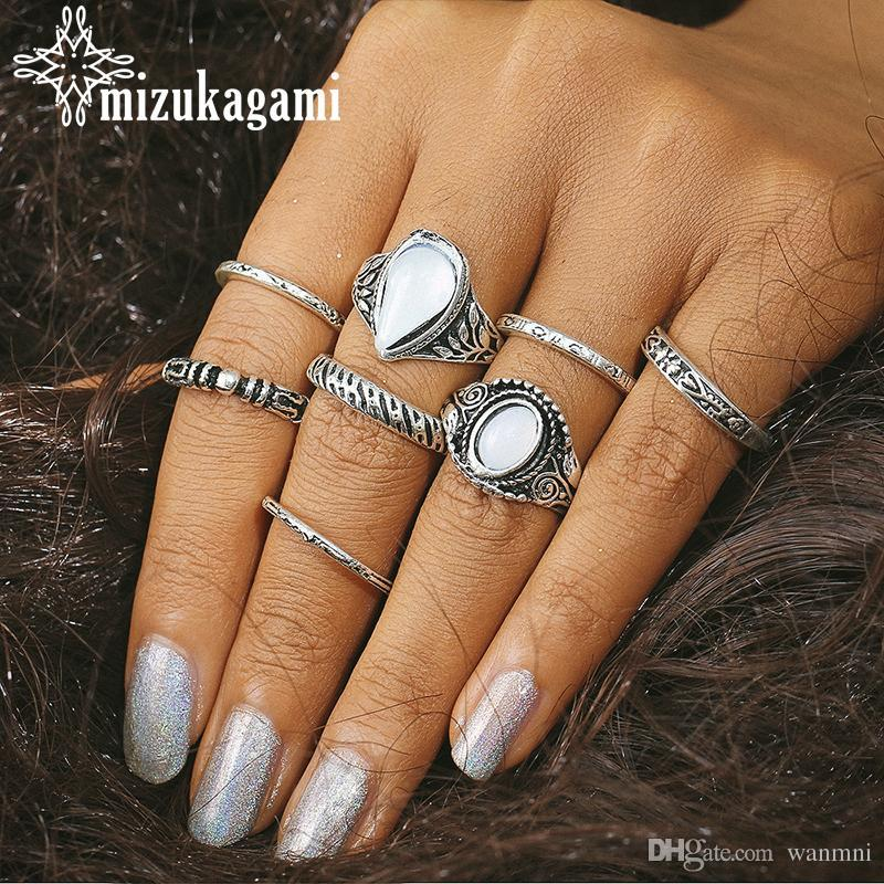 whole sale8pcs/set Boho Vintage Silver Midi Hollow Out Carved Finger Rings For Women Men Bohemian Joint Ring Set Jewelry