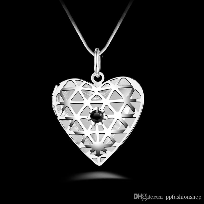 Silver Jewelry Pendant Fine Diamond Box Pendant 925 jewelry silver plated Necklace Fashion gift necklace Top Quality