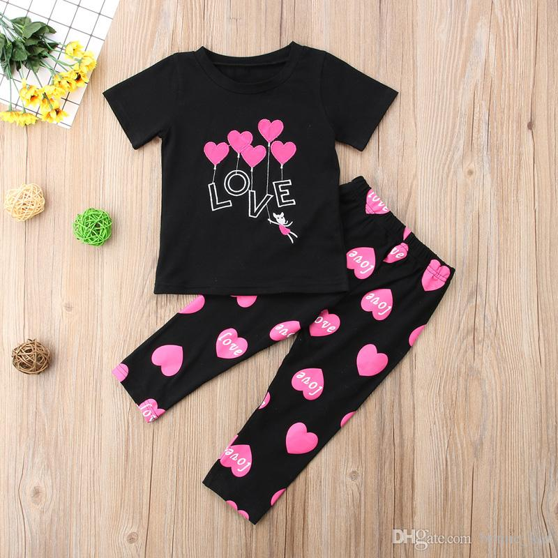 8a54bcb66 2019 Summer Kid Girl Black T Shirt+Pants Outfit Pink Heart Pattern ...