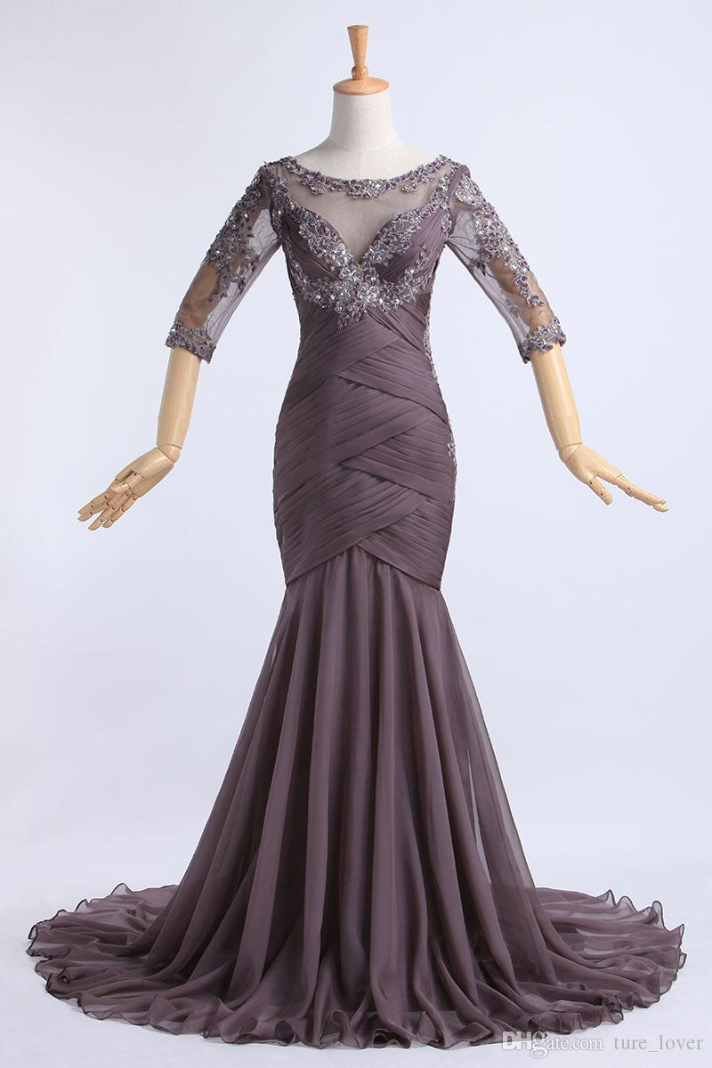 Evening Dresses Wear Mermaid Style Real Pictures Long Tulle Appliques Lace Formal Prom Gowns mother of the bride dresses
