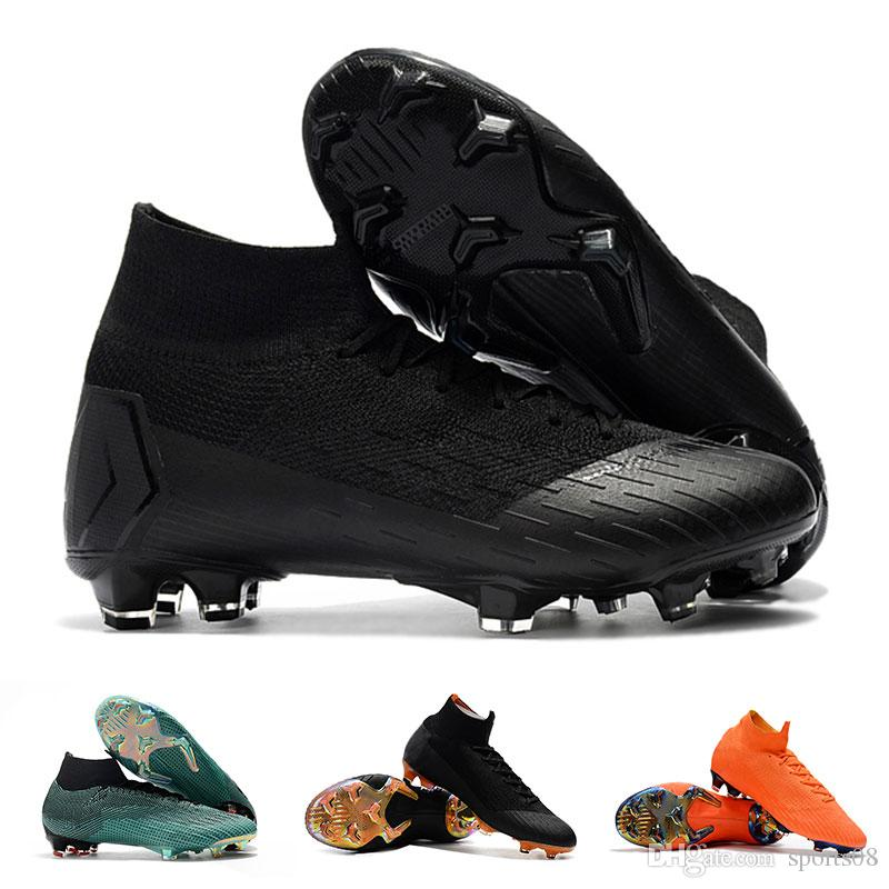 770336ffc0b4 2019 Original Black CR7 Football Boots Kids Mercurial Superfly FG Soccer  Shoes C Ronaldo Soccer Cleats VI 360 Elite FG Mens Youth Soccer Boots From  Sports08 ...