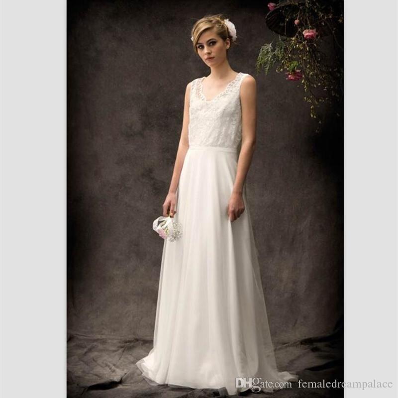 2018 Simply White Chiffon Beach Wedding Dresses Custom Vestido De Novias Cheap Wedding Gowns V Neck Buttons Back Bridal Dresses