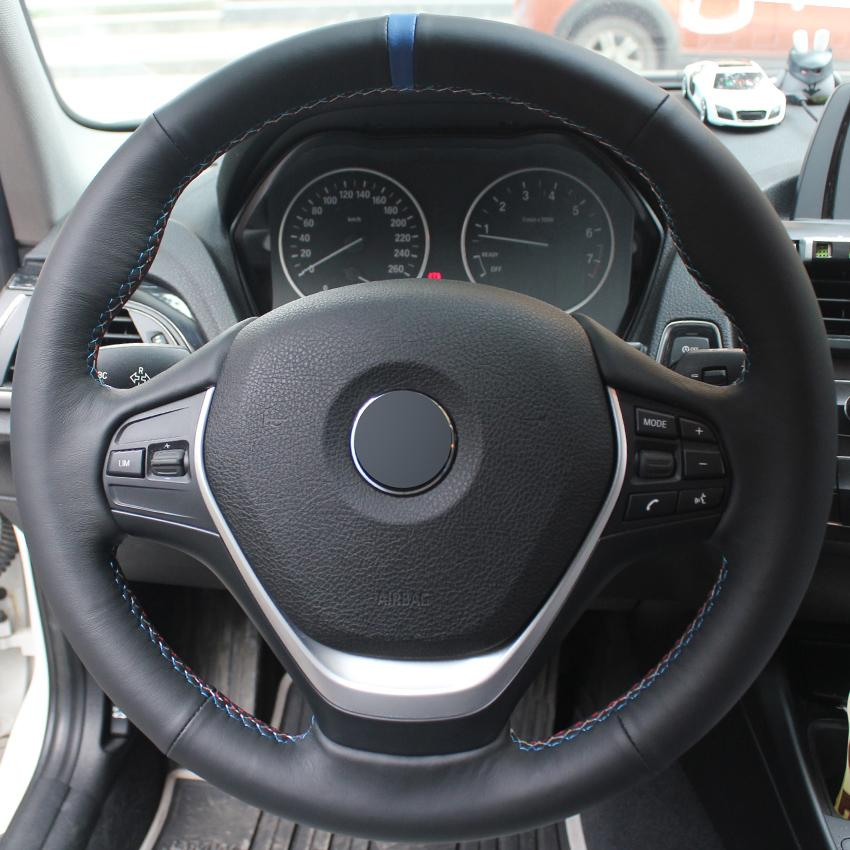 Black Genuine Leather Hand Stitched Car Steering Wheel Cover For Bmw