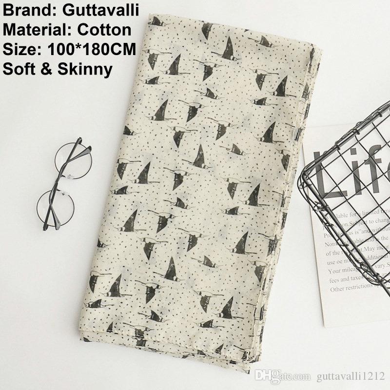 Guttavalli Women Fashion Flying Birds Cotton Long Shawl Female Skinny Animal Wrap Chevron Sunscreen Dots Geometric Beige Seagull Scarves