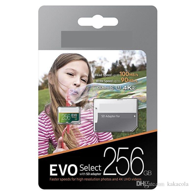 2018 Best Selling 256GB 128GB Micro SD Memory Card 64GB EVO Select 100MB/s Class 10 for Smartphones Camera Galaxy Note 7 8 S7 S8