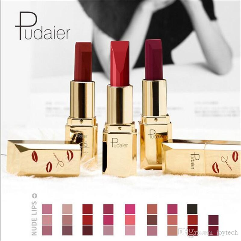 Pudaier 26 Colors Lips Velvet Sexy Red Lip Matte Lipstick Make Up Beauty Matte Cosmetic Lipstick gloss lipsticks DHL free shipping